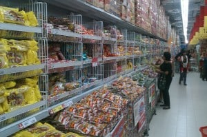 Instant noodles section. Probably the most popular food in Indonesia.