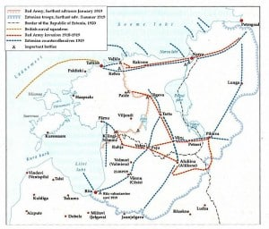 Map of the Estonian War of Independence. Source: Wikipedia